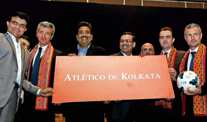 Co-owners of Atletico de Kolkata, (from left to right) Sourav Ganguly, Utsav Parekh, Miguel Angel Gil Marin (owner of Atletico de Madrid), Harshavardhan Neotia and Sanjiv Goenka, Ignacio Aguillo, (Director, Corporate Development, Atletico de Madrid), Emillo Gutierrez (Director, Marketing and International Relations, Atletico de Madrid), during the launch of the in the Indian Super League franchise in Kolkata on Wednesday.