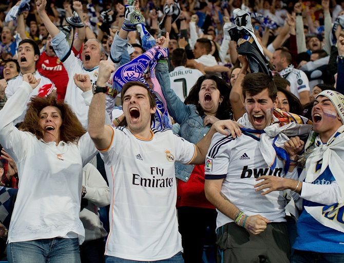 Real Madrid fans celebrates