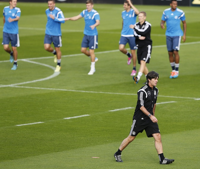 German national soccer coach Joachim Loew conducts a team training session