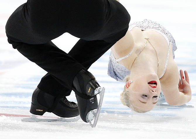Annabelle Proelss and Ruben Blommaert of Germany perform during the pairs short program at the Rostelecom Cup ISU Grand Prix of Figure Skating