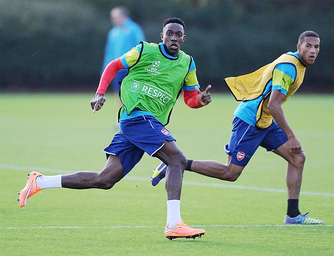 Arsenal's Danny Wellbeck during a training session