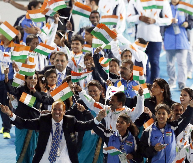 India at Asian Games closing ceremony