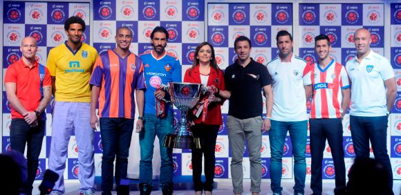 ISL trophy launched in presence of icon players - Rediff ...