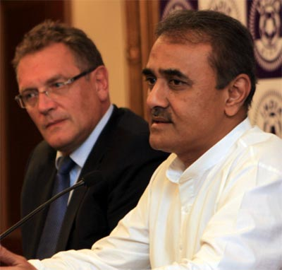 FIFA secretary general Jerome Valcke (left) with AIFF president Praful Patel