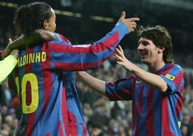 Lionel Messi has in the past credited former FC Barcelona teammate Ronaldinho helped him settle at the club