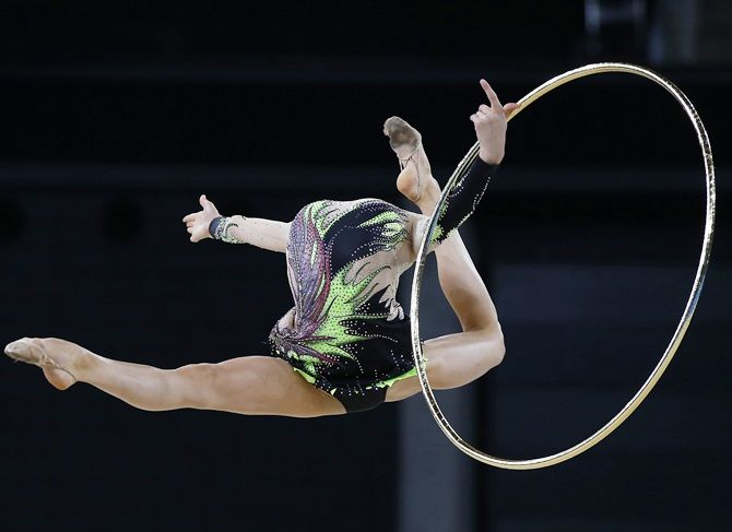 Gymnast performs with hoop
