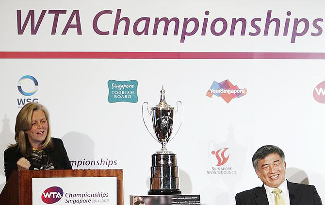 Stacey Allaster (left), Chairman and Chief Executive Officer of the Women's Tennis Association (WTA), speaks