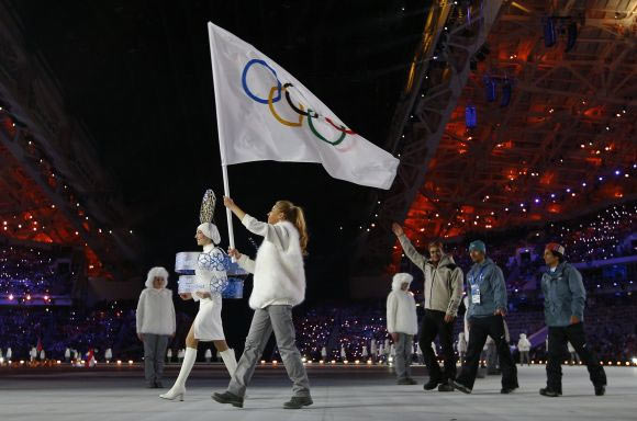 Independent Olympic Participant's delegation parades during the opening ceremony of the 2014 Sochi Winter Olympic Games