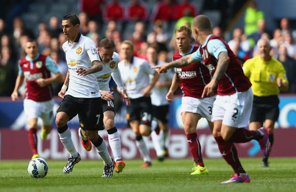Angel di Maria of Manchester United in action during the Premier League match against Burnley at Turf Moor.