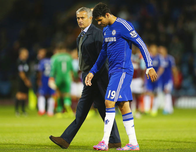 Chelsea manager Jose Mourinho with Diego Costa