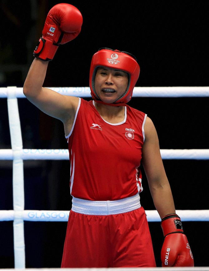 Sarita Devi at the Asian Games in Incheon. Photograph: PTI