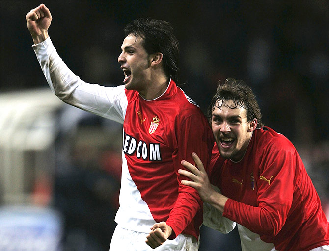 Monaco's Fernando Morientes celebrates at the final whistle after the UEFA Champions League quarter-final second leg against Real Madrid at the Louis II Stadium, Monaco, on April 6, 2004