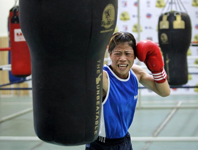 M C Mary Kom during a training session at the Balewadi Stadium in Pune. Photograph: Danish Siddiqui/Reuters