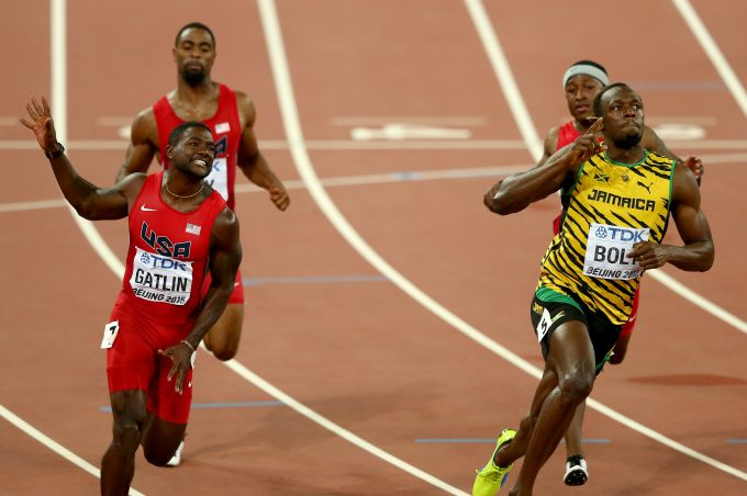 Usain Bolt wins the 100 metres at the World Athletics Championships. Photograph: Michael Steele/Getty Images