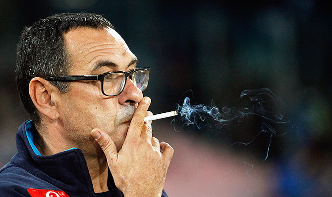 Napoli head coach Maurizio Sarri during a Serie A match between SSC Napoli and Udinese Calcio