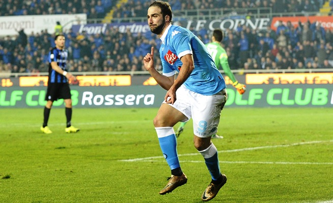 Gonzalo Higuain celebrates after scoring the third goal for Napoli