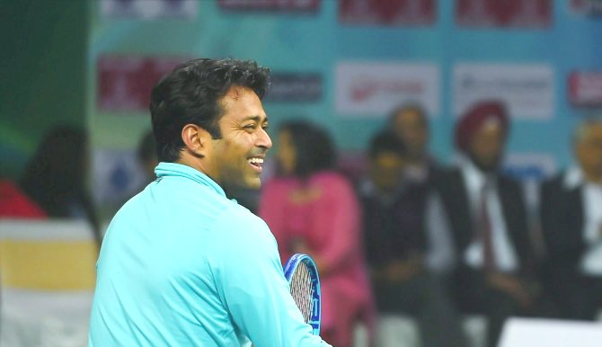 India's Leander Paes in action during a match