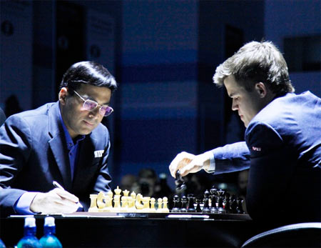 Magnus Carlsen of Norway and Viswanathan Anand