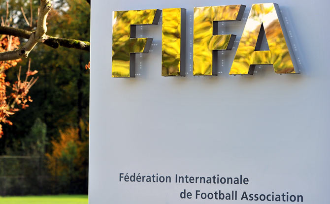 FIFA logo outside their headquarters in Zurich
