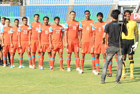 The Indian football team before the start of an international match