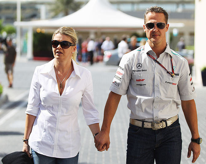 Michael Schumacher of Germany with his wife Corinna