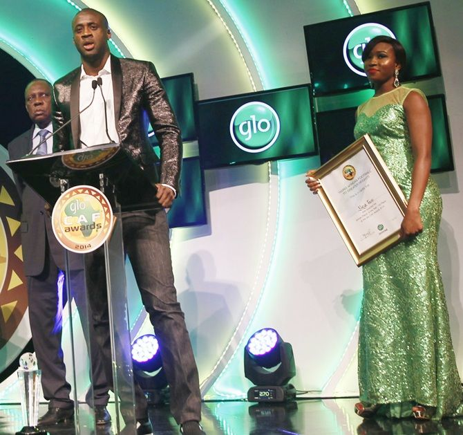 Yaya Toure, of the Ivory Coast and Manchester City, makes a speech after   receiving the African Player of the Year award