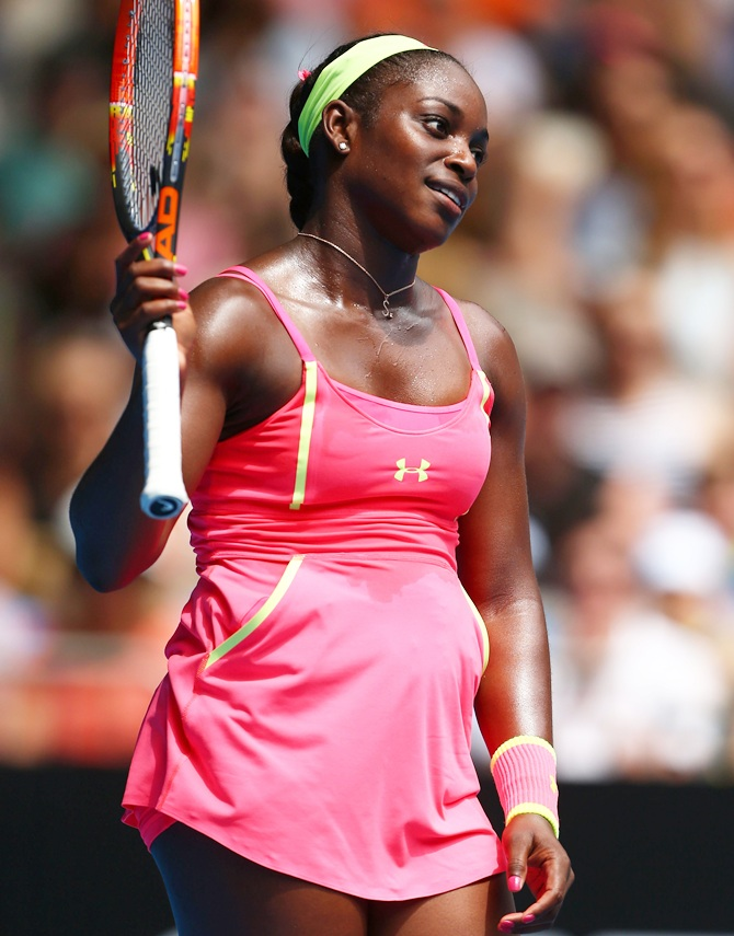 Sloane Stephens of the United States reacts to a point in her first round match against Victoria Azarenka   of Belarus