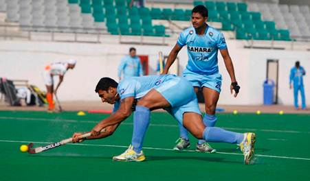 India's hockey players in action