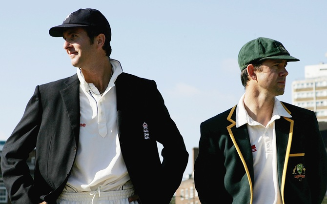 Former England captain Michael Vaughan and Australian captain Ricky Ponting look on
