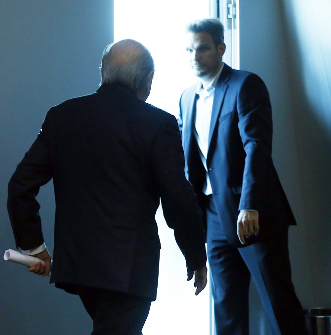Sepp Blatter leaves after his statement