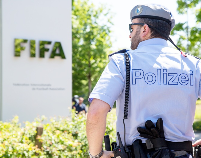 A policeman stands in front of the FIFA