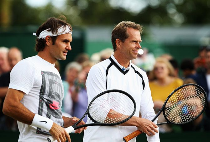 Roger Federer with his coach Stefan Edberg at a practice session at Wimbledon. 2015