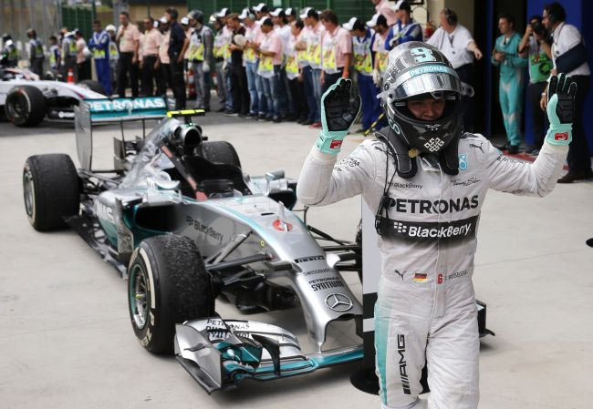 Mercedes Formula One driver Nico Rosberg of Germany celebrates