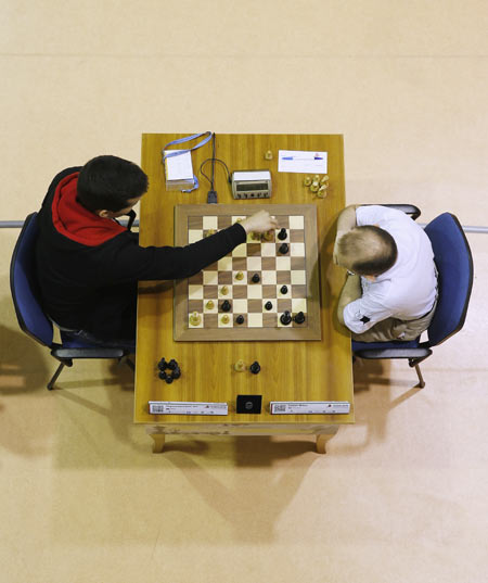 Nepomniachtchi of Russia plays against Milov Vadim of Switzerland during the FIDE World Rapid & Blitz Chess Championships 2014 at Dubai Chess