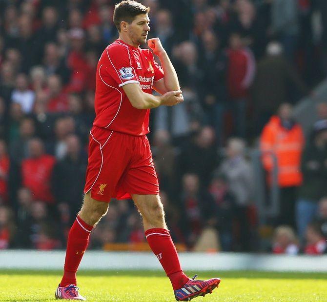 Steven Gerrard of Liverpool leaves the field