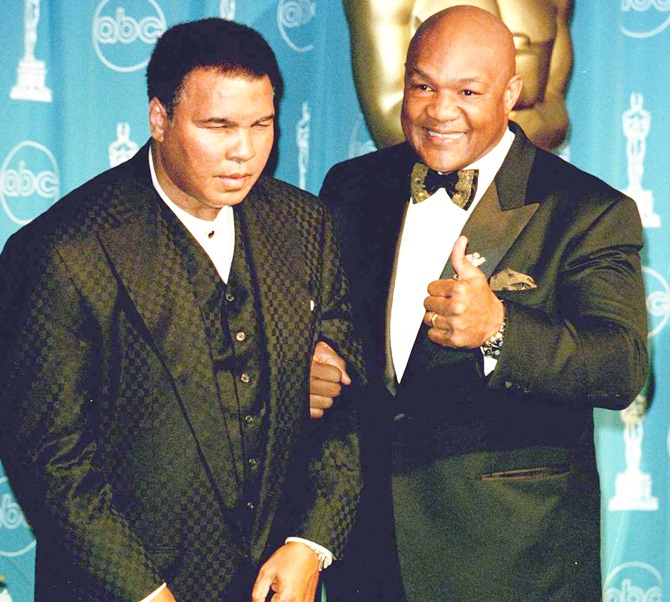 American boxers Muhammad Ali and George Foreman