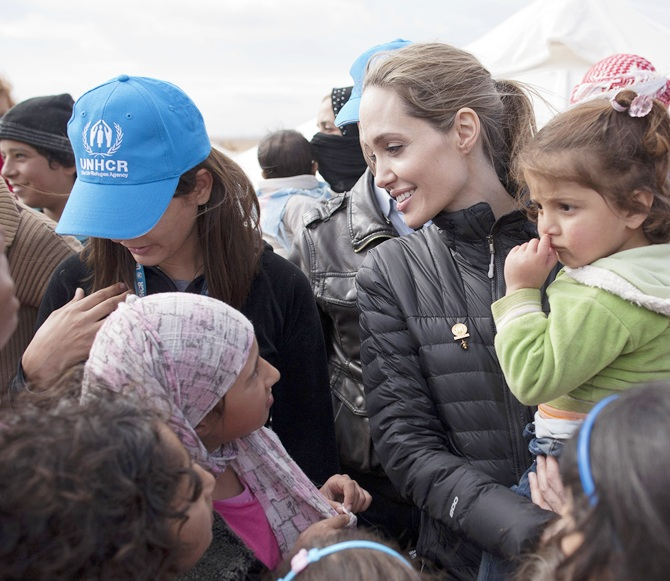 UNHCR Special Envoy Angelina Jolie meets with refugees