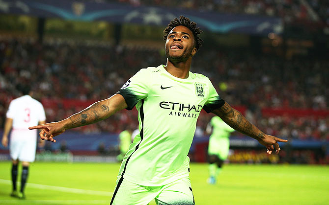 26b98ed86 Manchester City s Raheem Sterling celebrates as he scores their first goal  against Sevilla FC during the