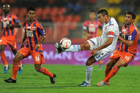 Action from the Indian Super League match played between FC Pune City and FC Goa on Sunday