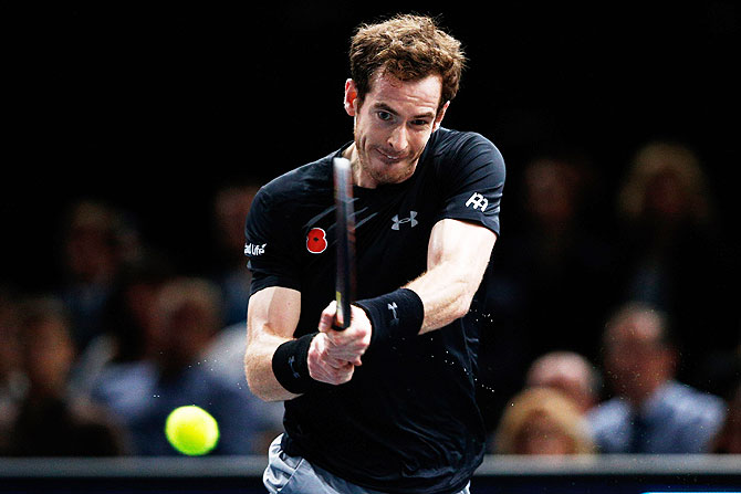 Great Britain's Andy Murray in action against Serbia's Novak Djokovic