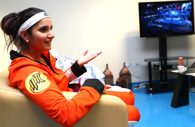 Sania Mirza of India relaxes