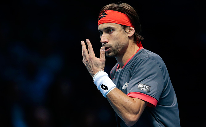 Spain's David Ferrer during his match against compatriot Rafael Nadal