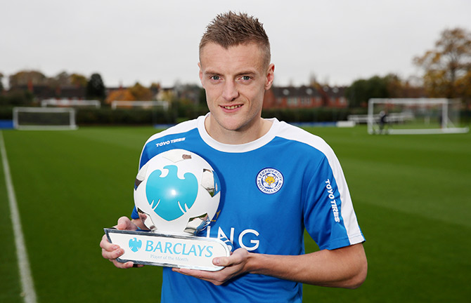 Leicester's Jamie Vardy poses with the October Barclays Player of the Month trophy