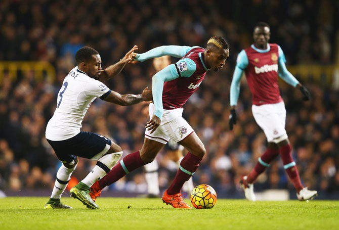 West Ham United's Diafra Sakho is closed down by Tottenham Hotspur's Danny Rose