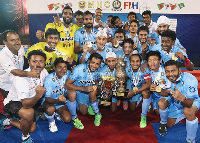 The victorious junior India men's hockeyteam