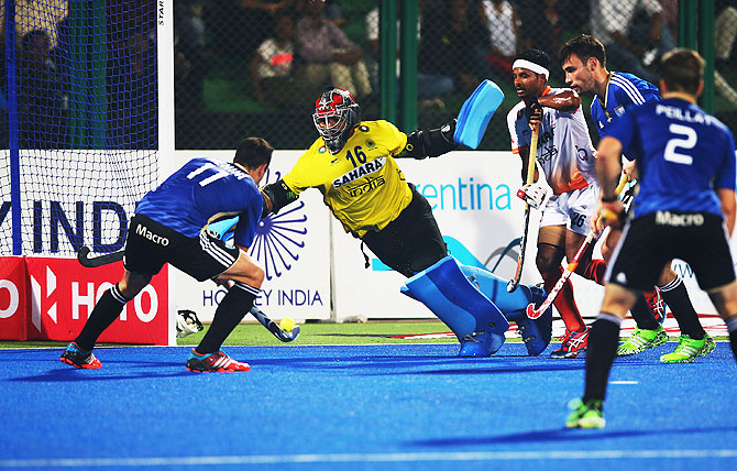 Joaquin Menini of Argentina scores against India on day one of The Hero Hockey League World Final at the Sardar Vallabh Bhai Patel International Hockey Stadium in Raipur on Friday