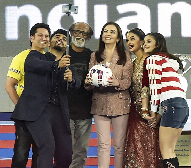 Cricketer Sachin Tendulkar, Neeta Ambani, Bollyoood actress Aishwarya Rai Bachchan,   Arjun Kapoor and Alia Bhatt during the opening ceremony