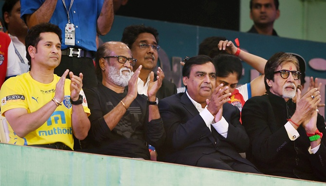 From left, Sachin Tendulkar, industrialist Mukesh Ambani with mega-actors Amitabh   Bachchan and Rajinikanth during the opening ceremony of ISL2