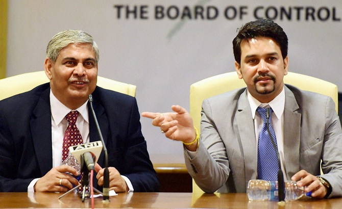 BCCI Chairman Shashank Manohar and secretary Anurag Thakur