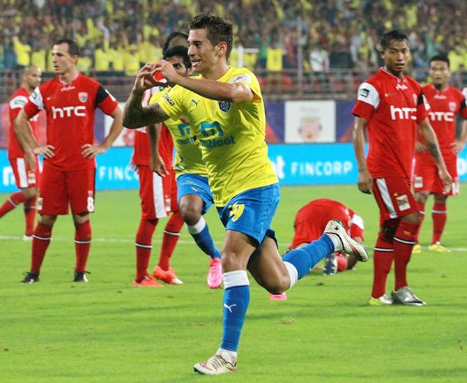 Josu Currias celebrates after putting Kerala Blasters FC ahead against North East United in the ISL match in Kochi on Tuesday